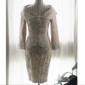 "Vintage ""Jessica McClintock"" Floral Skirt Set"